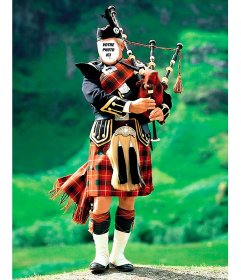 Photomontage avec un joueur de cornemuse typique écossaise pour ajouter votre visage