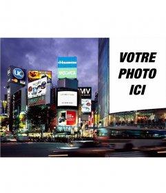 Position de montage de votre affiche de photo dans la métropole de Tokyo dans une grande affiche dun immeuble. Devenir objet