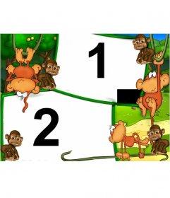 Cadre photo de singes dans la jungle pour enfants où vous pouvez mettre deux photos