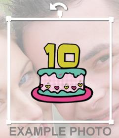 Autocollant dun gâteau avec le numéro 10 pour décorer vos photos pour