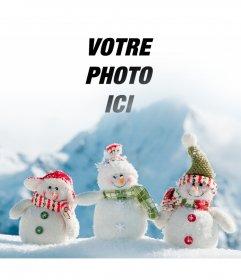 Photomontage de mettre votre photo dans cette image de trois bonhommes de neige