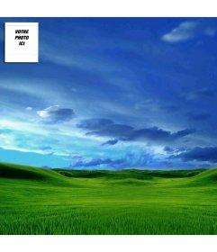 Twitter modèle d'arrière-plan avec votre photo: le ciel et le vert