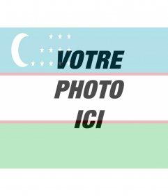 """Collage de ligne avec le drapeau de l""""Ouzbékistan avec votre photo"""