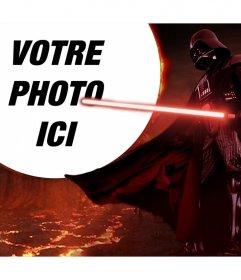Photomontage de Star Wars avec Dark Vador entouré par la lave