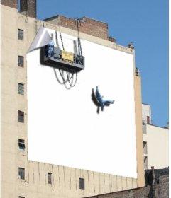 Dans ce photomontage, vous pouvez mettre une photo que vous choisissez sur un grand panneau qui est en face dun immeuble