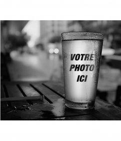 Photomontage avec une réflexion dans un verre