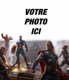 Installation des premiers Avengers défendant la ville avec votre photo ci-dessus