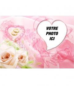 Cadre photo en forme de coeur. Comprend deux roses jaunes et des anneaux de mariage