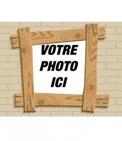 Cadre photo effet de bande dessinée en bois où vous pouvez mettre votre photo