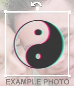 Adhésif yin yang en noir pour décorer vos photos et blanc