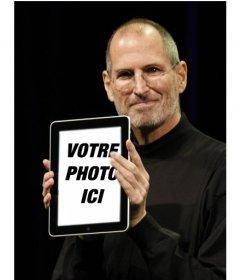 """Photomontage avec des personnages populaires. dans ce montage, Steve Jobs, CEO d""""Apple, affiche vos photos dans un IPAD"""
