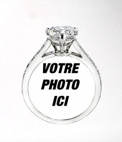 Mettez une photo de votre fille ou garçon dans un anneau de diamant Cartier, photomontage romantique