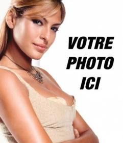 """Modèle de votre montage photo avec des personnages populaires et des célébrités. Téléchargez votre photo et rester près d""""Eva Mendes, mannequin et actrice. Il est facile!"""