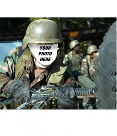 Become in an American soldier with this photomontage