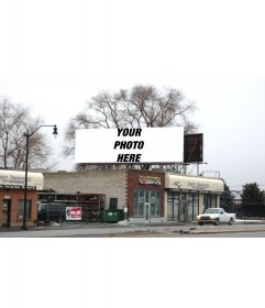 Your photography captured in a billboard in a winter landscape real