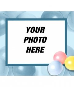Birthday card with balloons, where you can put your picture and send it by email or print