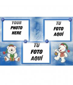 Fun Christmas postcard in which you can put 3 photos