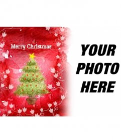 Welcomes the holidays with this picture frame red background which shows a Christmas tree and white vines