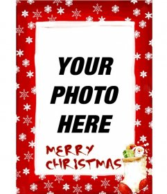 Picture frame red background with snowflakes and Christmas themes with which to congratulate the holidays