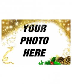 Festive photo frame with gold stars Christmas ornament. To customize your photos this holiday
