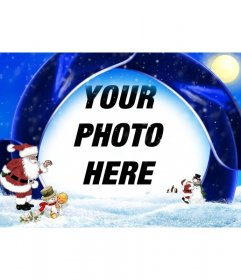 Christmas card blue background and snow in which to insert your picture, are Santa Claus, a boy and snowmen