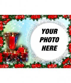 Christmas card where you put a picture in a round frame surrounded by shiny beads. The background color varies from light blue to green and the composition is coated edge Poinsettias, typical plant of Christmas red. We also see a table centerpiece consisting of a golden cup surrounded by four candles lit ingrown. As a reminder of a special day of the holidays