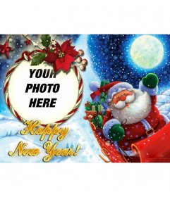 Photomontage to put your picture in a rounded photo frame with a loop, in which Santa Claus congratulates us the new year