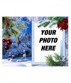 Christmas card with your photo on a white rectangular frame