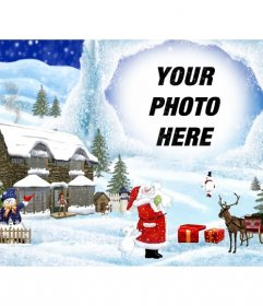 Christmas card with Christmas drawing background scenery