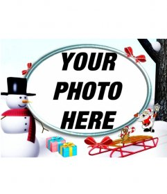 Christmas photo frame in the snow with a snowman and gifts to put a photo