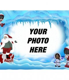 Christmas postcard of Santa Claus on icy landscape. Where can you put a photo online