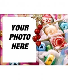 Christmas card for editing. Congratulates the holidays with your photo. Ornate gold frame, red balls, like the background, hanging threads of light. use it for Christmas cards