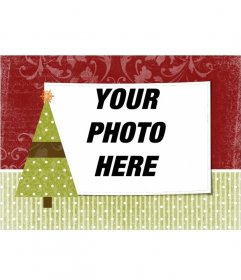 Christmas card to personalize with a photo of your choice with Christmas tree ornament with a star