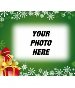 Postcard with green background and Christmas gifts to put your photo in the background