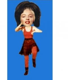 Put your face on the body of a woman in red dancing cartoon style. Edit the animated gif from the page to download or email