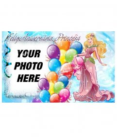 Photo montage to create a postcard to congratulate the birthday of the princess of the house