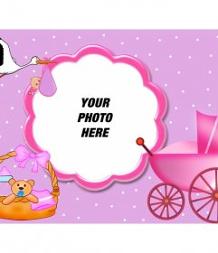 Pink picture frame suitable for framing babies. Supplements appear newborn, and the stork flying with his pack at the peak