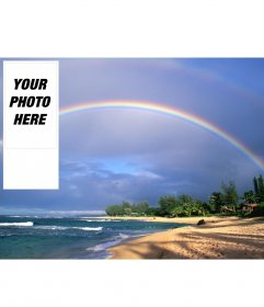 Wallpaper for twitter rainbow on a beach, to put your photo online