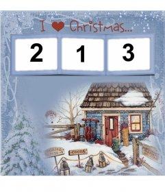 Photo frame, I Love Christmas for 3 photos. To congratulate Christmas