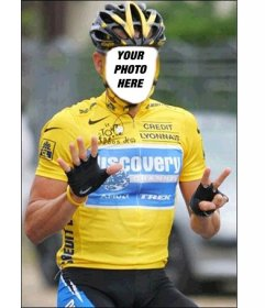 Photomontage of Lance Armstrong celebrating his 7 Tours