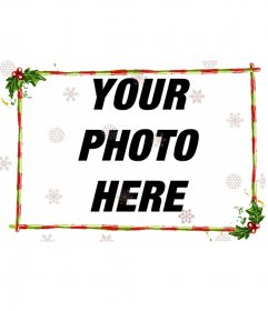 Edit an image from this page with this template to photomontage consisting of a discrete part with Christmas, for a photograph in width. Garlands and green bars with red stripes