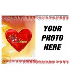 Photo frame Christmas card with a heart on which is written Merry Christmas