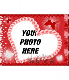 Postcard for Valentine heart-shaped, red background, butterflies and the word LOVE