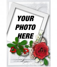 "Card with shaped polaroid style and a rose, special for Valentine""s day"