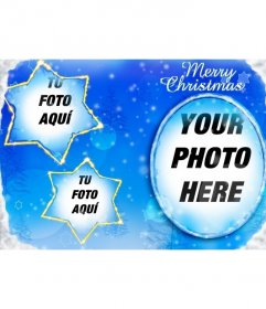 Frame for three photos inserted on the moon and two star-shaped constellations with which compliment this Christmas