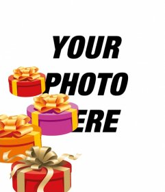 Make a personalized birthday card with a photo or image. This photo effect will include at least a four gift boxes painted in perspective, with gold ties