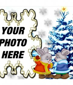 Image with two bunnies and a Christmas tree to add your photo