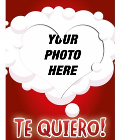 Make a online postcard with your photo and a heart shaped frame surrounded by white clouds on a red background