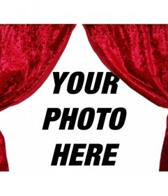The curtain opens. Photomontage to decorate your picture with theater curtains open. curious decoration