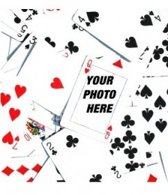 Photomontage made up a lot of poker cards upturned disordered, with a Q of hearts in the center of the image. Within this menu you can insert a picture